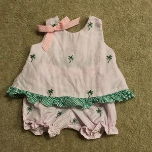 Other - Pink & White seersucker Baby Girl Outfit - 3/6 M
